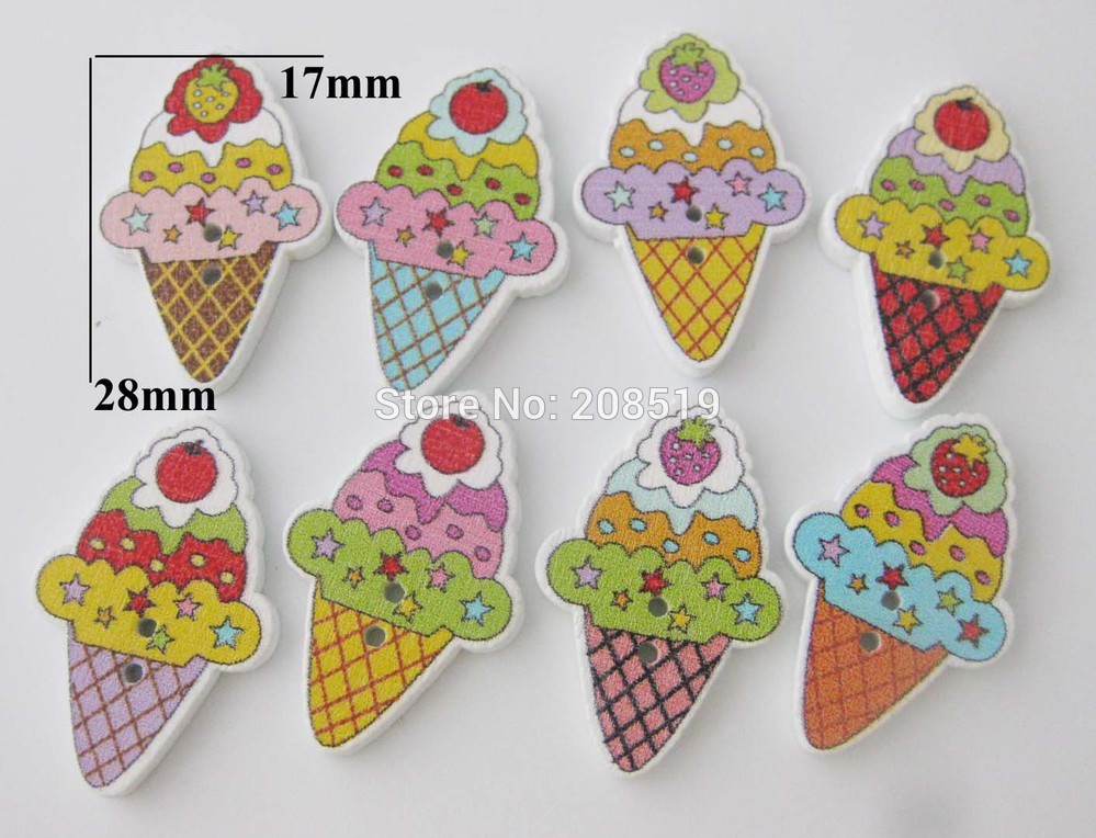 WBNSGG 100pcs Mixed Icecream Painting white Wooden Buttons Scrapbooking Sewing Accessories For Craft Handmade