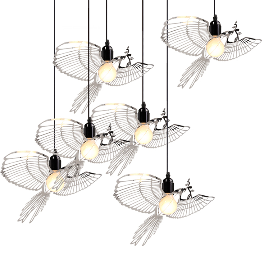 Modern LED Iron Bird Pendant Lights Led Kitchen Dining&Bar Pendant Lamp for Living Room Bedroom Kitchen Lighting Hanging Fixture bdbqbl modern iron pendant light for living room bedroom foyer study hanging lights white led pendant lamp lighting fixture