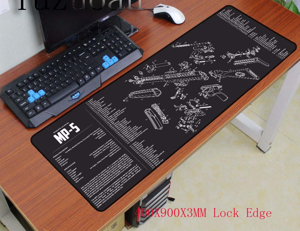 Yuzuoan 900*400*3mm Large keyboard Lock Edge Design Speed Gun parts Game MousePads Computer Gaming Mouse Pad Gamer Play Mats customized mouse pad diy personalized non slip rubber edge locking mousepads 90x40 100x50 120x60cm gaming play mats