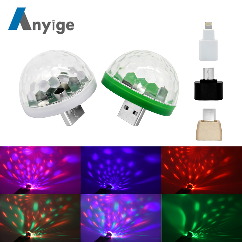 ANYIGE Mini USB led Party Lights Portable Crystal Magic Ball Home Party Karaoke Decorations Colorful Stage LED Disco Light
