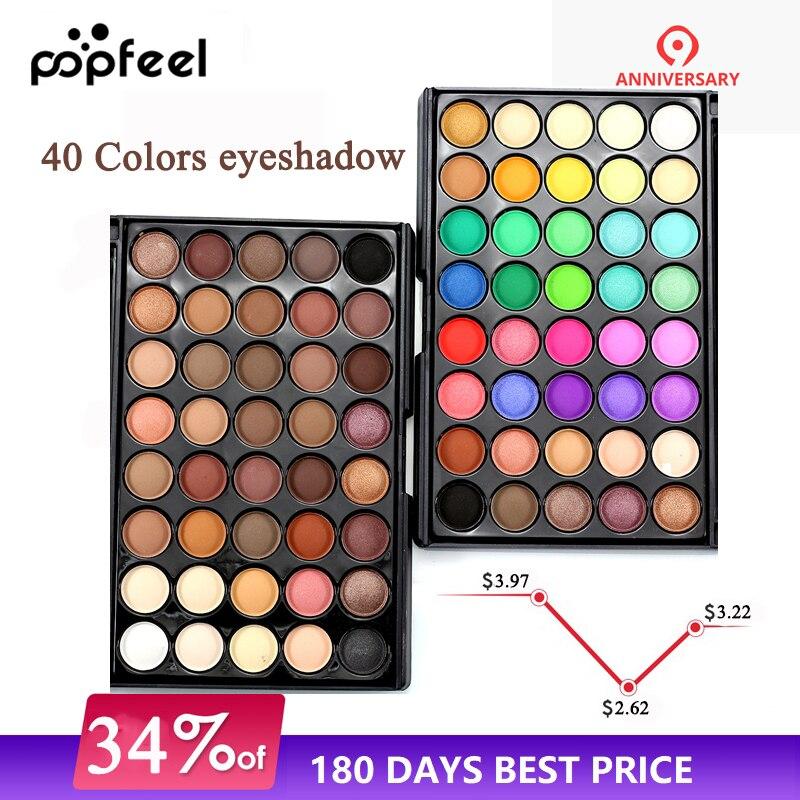 Popfeel Women 40 Colors Eyeshadow Matt Light Pearl Color Eyeshadow Eye Power Pastel Color Eyeshadow Eye Shadow Beauty & Health
