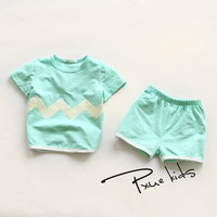 Hot New 2016 Summer Girls Boys Wave Jchao Children Clothing Set Baby Clothes Short Sleeve T