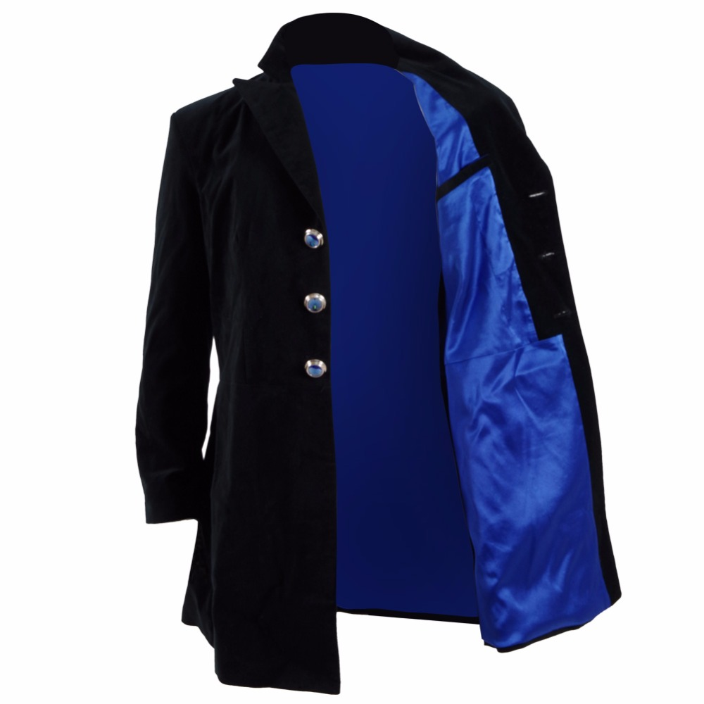 Christmas Doctor Dr Who 12th Dr Mysteries Cosplay Costume Black Navy Velvet Coat