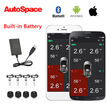 Newest Car USB TPMS Tire Pressure Monitoring System Bluetooth Android IOS Alarm + 4 Wireless Internal External Auto Tyre Sensors