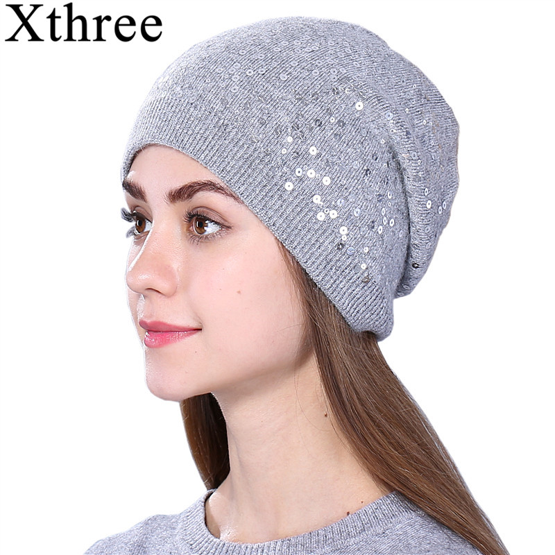 Xthree Female Cashmere Winter Knitted Hat For Women Hat Beanies Skullies Sequins Wool Hat Autumn Girls Gorros Invierno