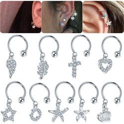1Pc/lot 9 Styles Choosable Steel Crystal Tragus Ear Piercing Daith Rook Earrings Helix Cartilage Studs Hoop Tragus Lip Ring 20G