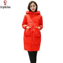 Winter Coat Women Cotton Padded Jacket For Female Long Hooded Red Coats Autumn 2018 Thickened Clothing M-2XL CH518