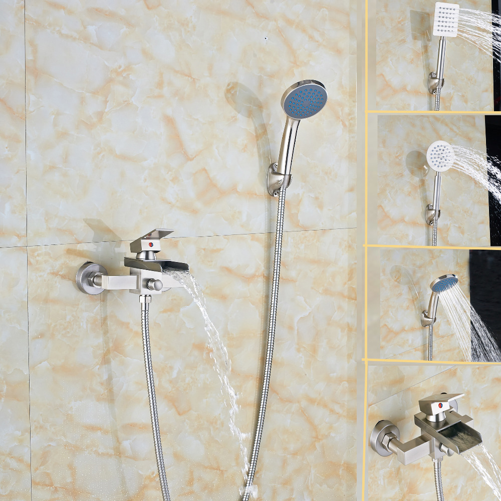 Luxury Brushed Nickel Waterfall Bathroom Shower Faucet Hand Shower Sprayer Tub luxury wall mount brushed nickel square shower faucet w hand shower sprayer