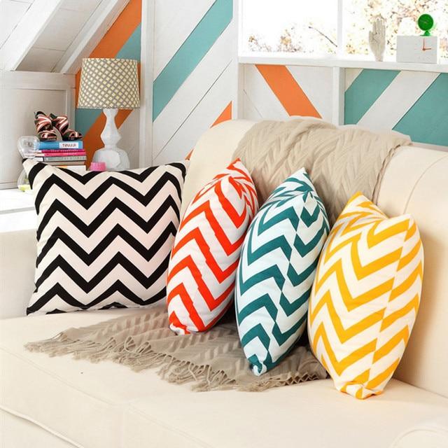Cotton Canvas Chevron Cushions Cover Colorful Zigzag Home Decor Pillow  Cover Decorative Throw Pillows Pillowcase 18