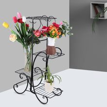 New 4 Tier Decorative Metal Flower Pot Plant Stand Rack Display Shelf Indoor Outdoor Garden Patio Warehouse Shelf(China)