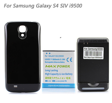5600 mAh Extended Battery + Black Back Cover Case + USB Wall Charger For Samsung Galaxy S4 SIV i9500 Black
