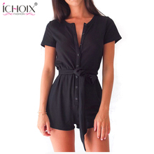 ICHOIX 2017 High Quality Sexy Solid Color Short Sleeve Jumpsuit Plus Size Short Rompers Casual Slim Bodysuit With Button Macacao