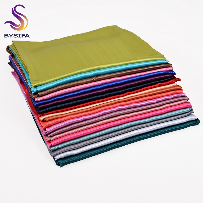 [BYSIFA] Candy Color Square Scarves Women Luxury Large Satin Silk Scarf Shawl Spring Autumn Winter Muslim Head Scarf 110*110cm