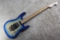 Maple boyun ve klavye Jackson 24 frets gitar elektrik, mavi kapitone üst parlak kaplama gitar