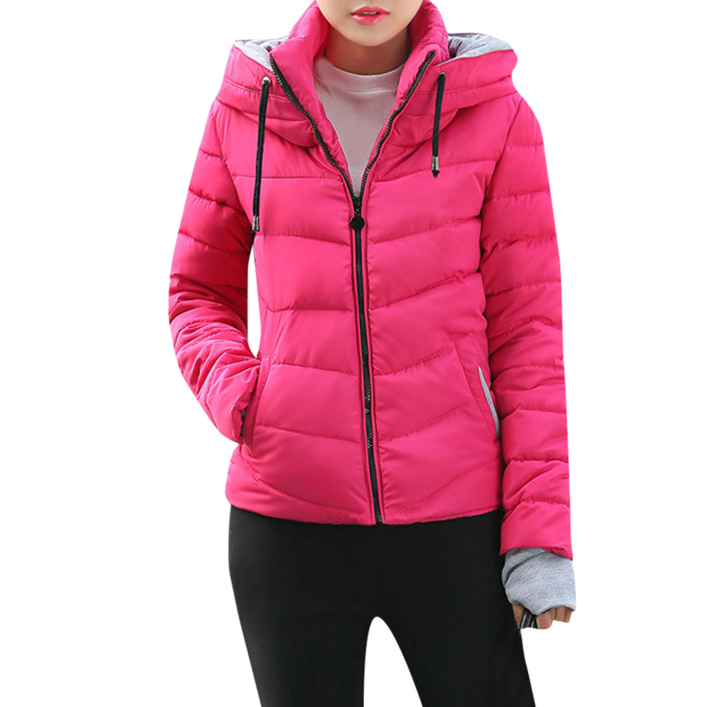 Women Thick Outerwear Hooded Coat Short Slim Cotton-padded   Jackets   Coats Women's Hooded   Jackets   2018   Basic     Jackets   Coats Sweater
