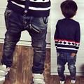 2017 primavera crianças jeans meninos casual crianças meninos moda zipper rebites etiqueta washed denim calças 3-8 anos!
