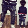 2017 spring children boys casual jeans kids boys fashion zipper rivets label washed denim pants 3-8 years !