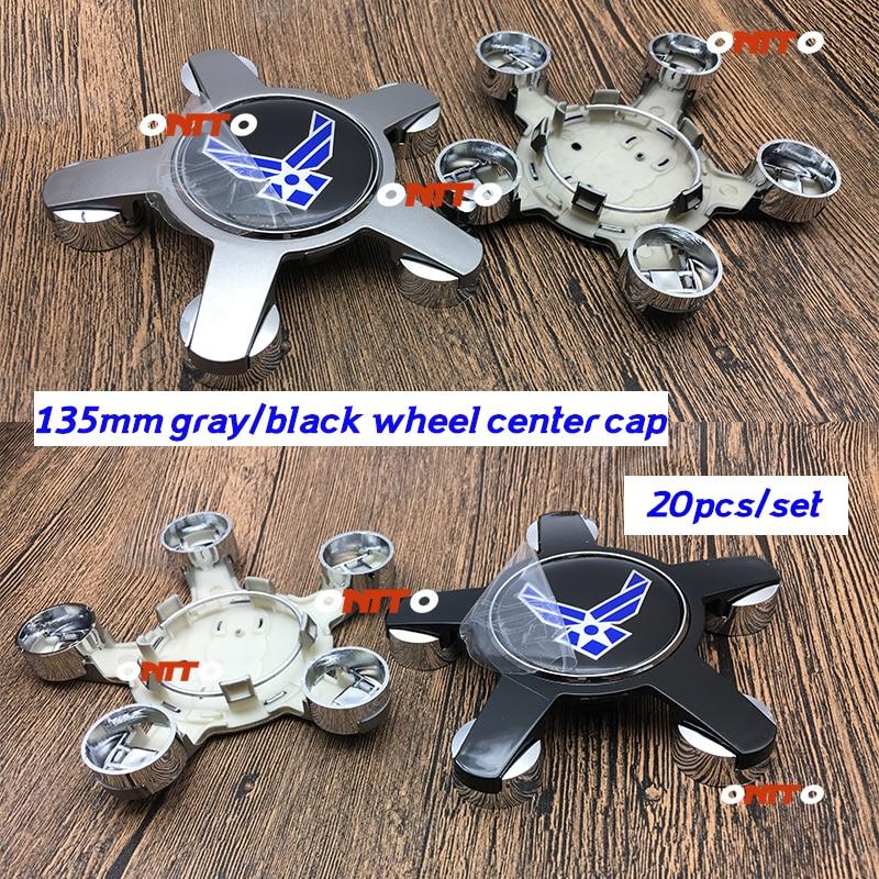 20pc 135MM 5claws Car Emblme Decoration Wheel Center Centre Cap Wheel Hub Cap Rim Covers Auto Universal Styling gray/black