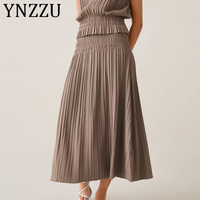 YNZZU Korean Style Casual Ice Silk Knitted Skirt Women 2019 New Solid High Waist Pleated Long Skirt Chic Female Maxi Skirt AB180