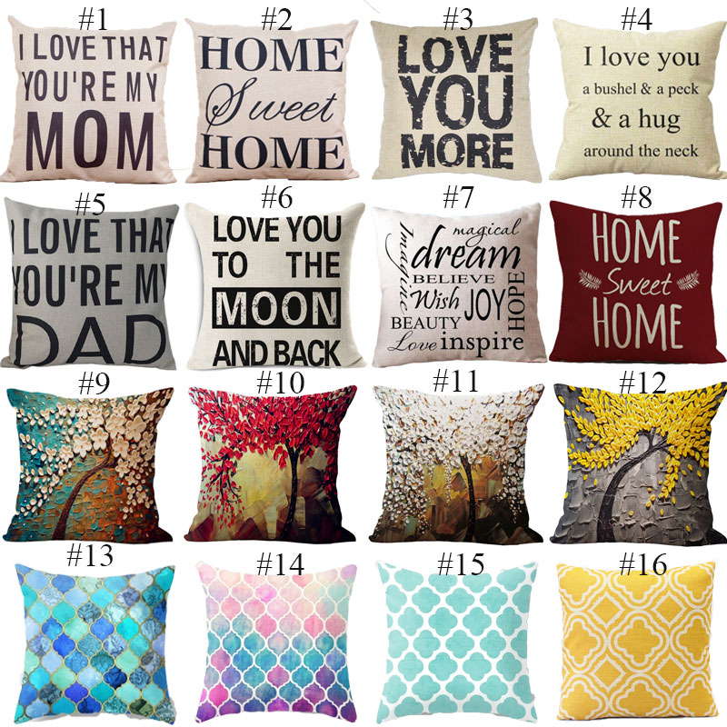 Family Affection Series Cushion Letter Throw Pillow Family Love Cushion Geometric Mural LOVE YOU MOM Decorative Pillows HH062