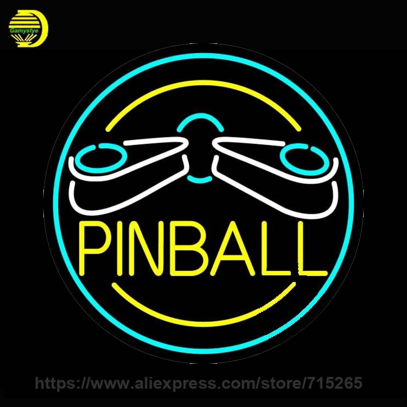 Neon Sign Pinball Neon Bulb Sign Handcrafted Beer Pub Sign Decorate Game Room Windows Sport Neon Light Sign Advertise Art Lamp