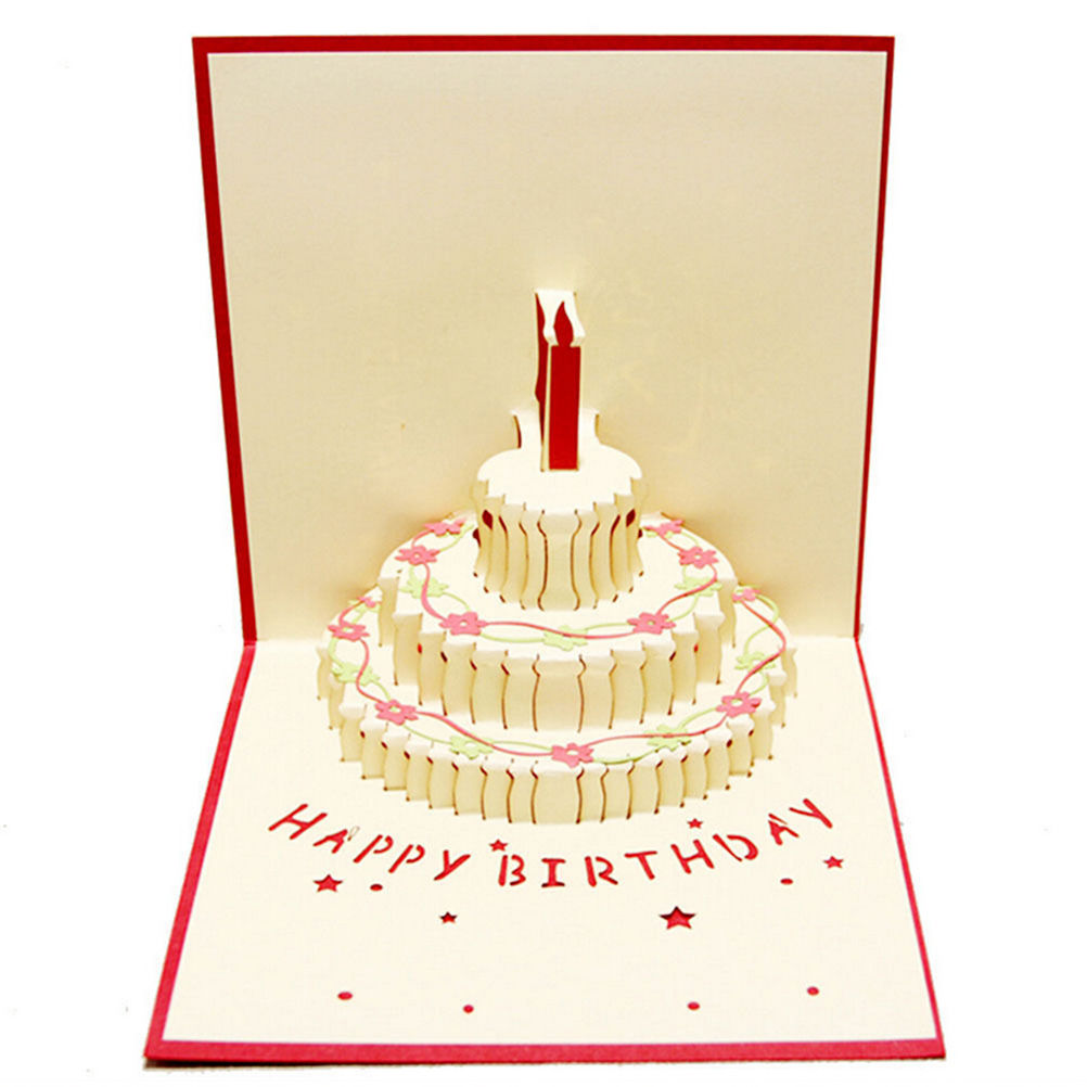 3D Pop Up Handmade Laser Cut Birthday Cake With Candle Creative