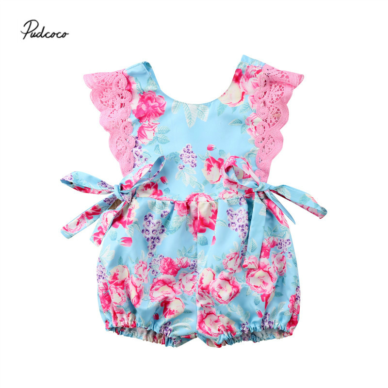 Pudcoco 2018 Cute Lace Floral Rompers Jumpsuits Newborn ...