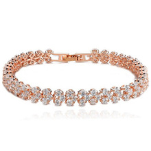 New Hot Clear Zirconia Crystal Gold /  Silver 9 Color Bracelets & Bangles Roma Bracelet For Women Fashion Jewelry