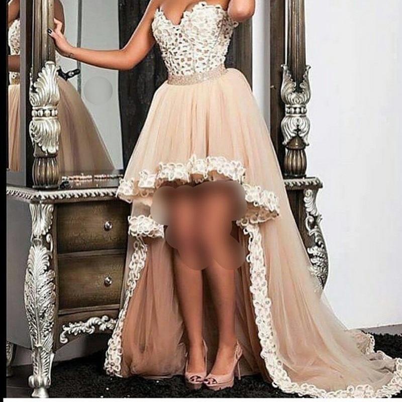 Champán de Novia de Escote Sin Tirantes Alto Bajo Prom Vestido Con Corpiño de En