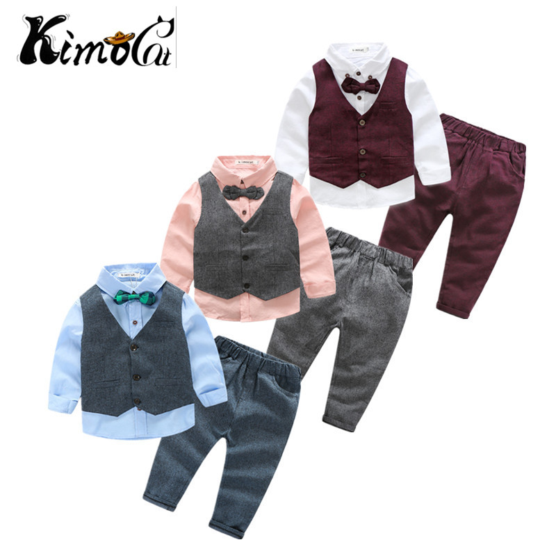 Kimocat new children clothing Spring and autumn boy cotton long-sleeve vest in the gentleman's suit 3pcs(Vest + shirt + pants) kimocat boy and girl high quality spring autumn children s cowboy suit version of the big boy cherry embroidery jeans two suits