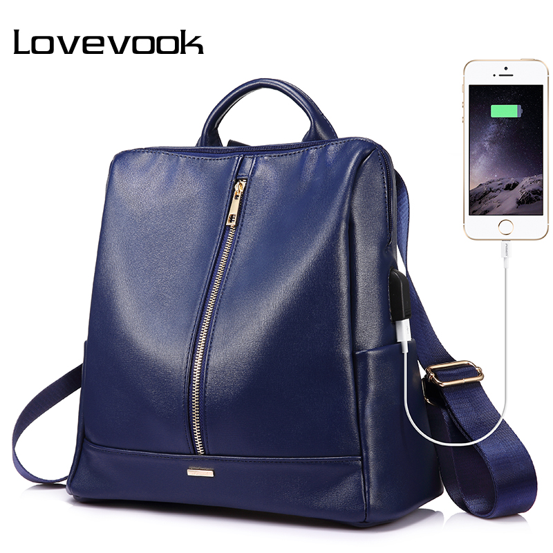 LOVEVOOK backpack women schoolbag for girls teenagers with external USB anti theft backpacks female large high quality PU bag elegant pu girl s schoolbag casual traveling bag women backpacks adjustable straps royal blue