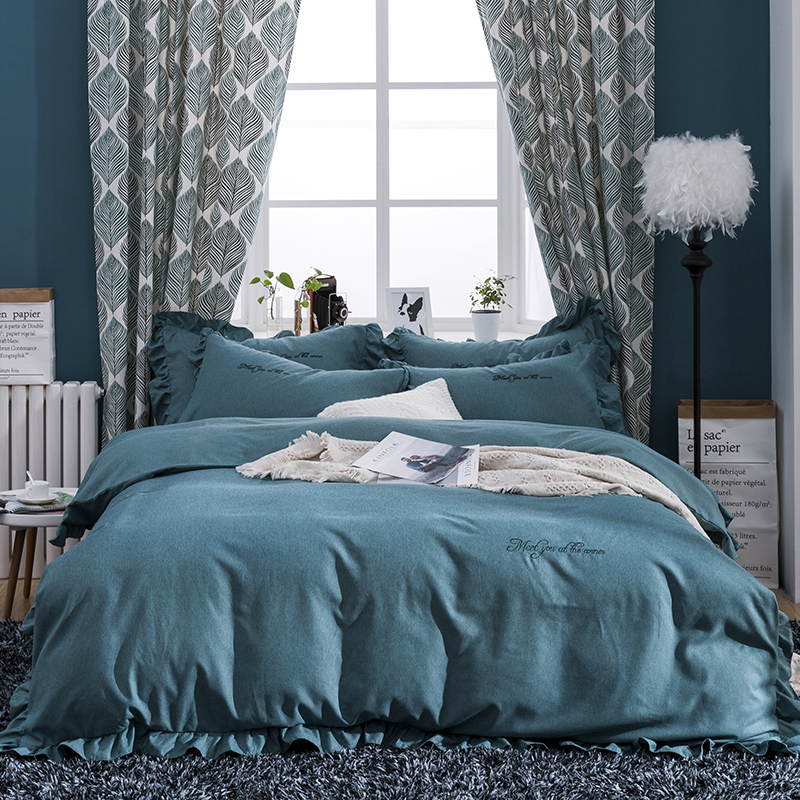 Yarn dyed cotton Bedsheet set Quilt/Duvet cover Bed set Pillowcase  Embroidery Luxury Bedding set Queen King size 4PiecesYarn dyed cotton Bedsheet set Quilt/Duvet cover Bed set Pillowcase  Embroidery Luxury Bedding set Queen King size 4Pieces
