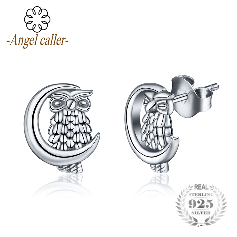Angel Caller Authentic 925 Silver Owl Moon Stud Earrings Women Fashion Eagle Earring Sterling Silver Jewelry Gril Gifts CYE10