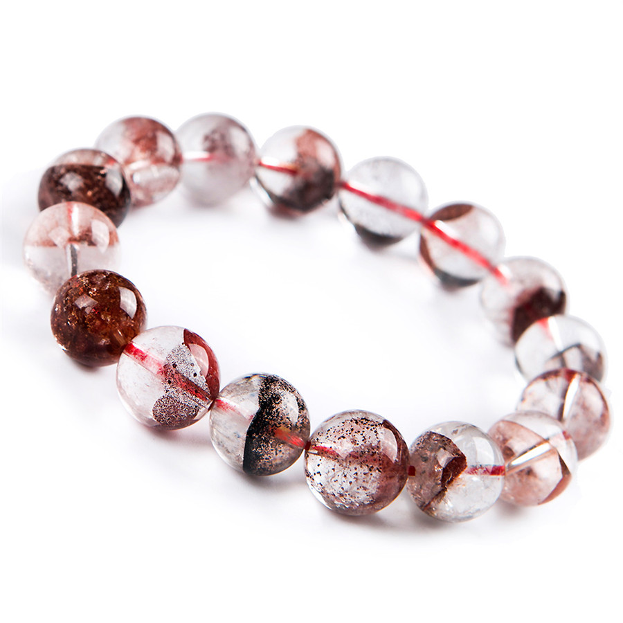Genuine Natural Red Phantom Quartz Gems Stone Round Crystal Beads Women Lady Bracelet 13mm 8mm genuine natural purple sugilite crystal beads women lady fashion gems stone jewelry stretch bracelet