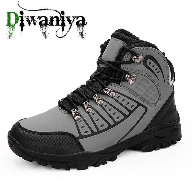 Diwaniya 2019 New Plush Warm Men Hiking Shoes Anti-Slip Outdoor Sport Shoes Walking Trekking Climbing Sneakers Comfortable Boots
