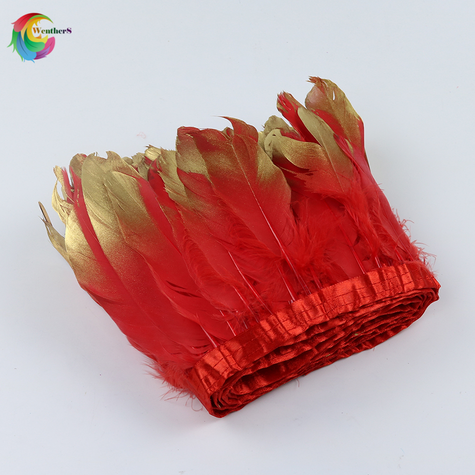 Hot red Dipped gold Goose feather ribbons Height 15-20cm feathers for Craft Wedding decoration Skirt Accessories plume