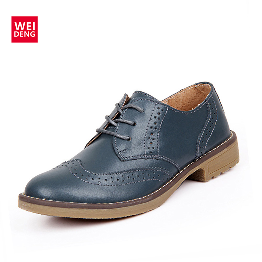 WeiDeng Genuine Leather Women Brogue Lace Up Vintage Shoes Classic Flat Low Heels Oxfords Boots Schoenen Vrouw Handmade 247 classic leather
