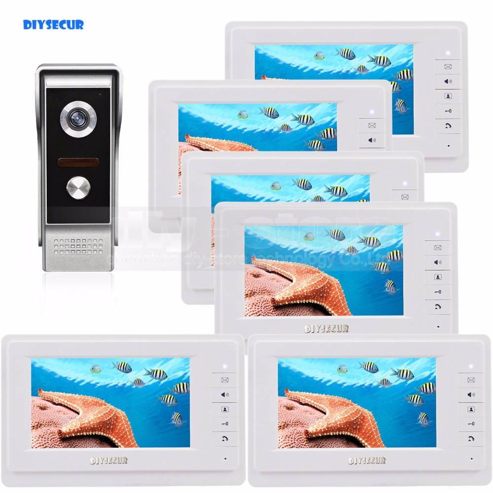 DIYSECUR 7 inch TFT Color LCD Display Video Door Phone Video Intercom Doorbell 700TVLine HD IR Night Vision Camera 1V6 xsl v70f m4 smart video door phone intercom hd 7 inch display