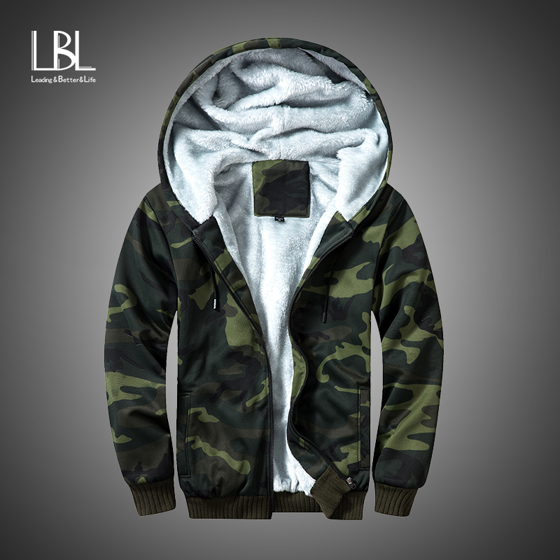Winter Fleece Hoodies Men Zipper Camouflage Hooded Coat Brand Mens Tracksuit Sweatshirt Bomber Jackets Warm US/EUR Size Hoody