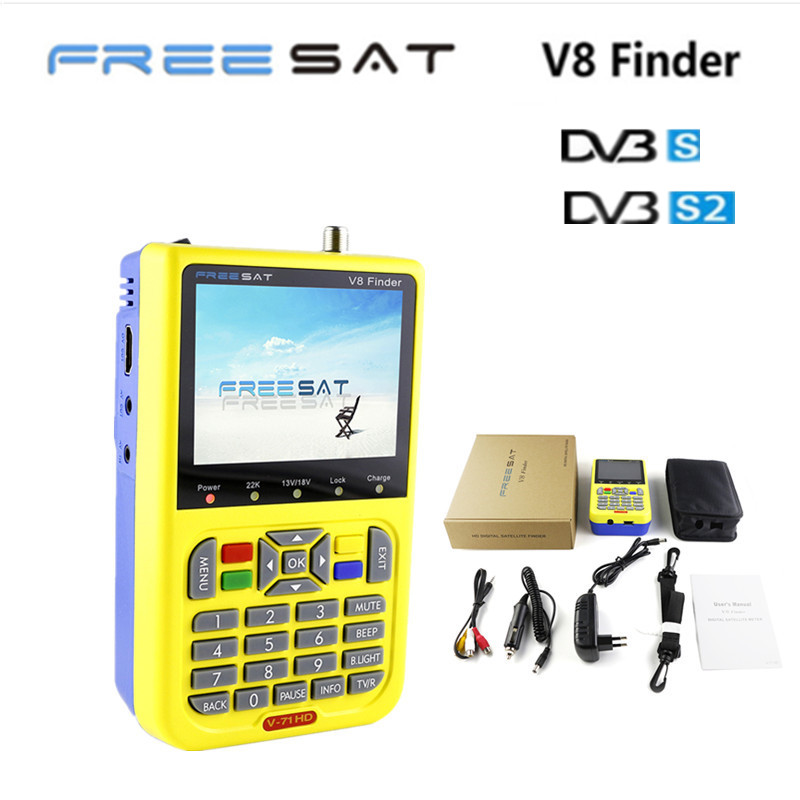 FREESAT V8 Finder Satellite signal Finder V-71 HD DVB-S2 MPEG-2/MPEG-4 FTA Digital Satellite meter 3.5 inch LCD Display satlink satlink ws 6906 dvb s fta digital satellite signal meter satellite finder supports diseqc 1 0 1 2 qpsk