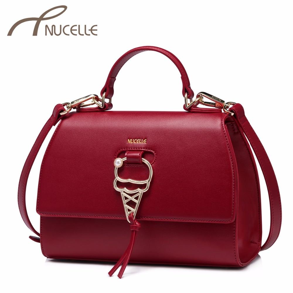NUCELLE Women's PU Leather Handbags Ladies Fashion Sweet Cone Corssbody Tote Purse Female Elegant Brief Messenger Bags NZ4144
