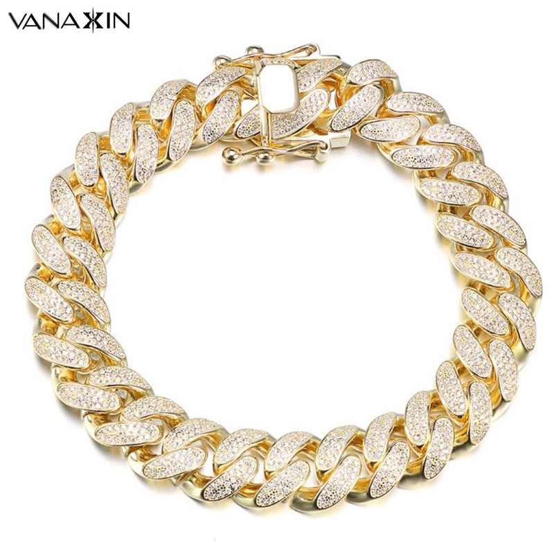 VANAXIN Hip Hop Bracelets For Men 9/7 Inch White Clear Zircons Iced Out Jewelry Bling Bling Bracelet Gold/Silver Color Punk Gift