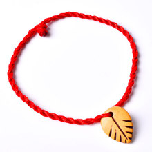 Fashion New Arrival 1PC Decent Heart Leaf Animal Lock Lovers' Braided Red Rope Bracelets Valentine Gift Fashion Jewelry(China)