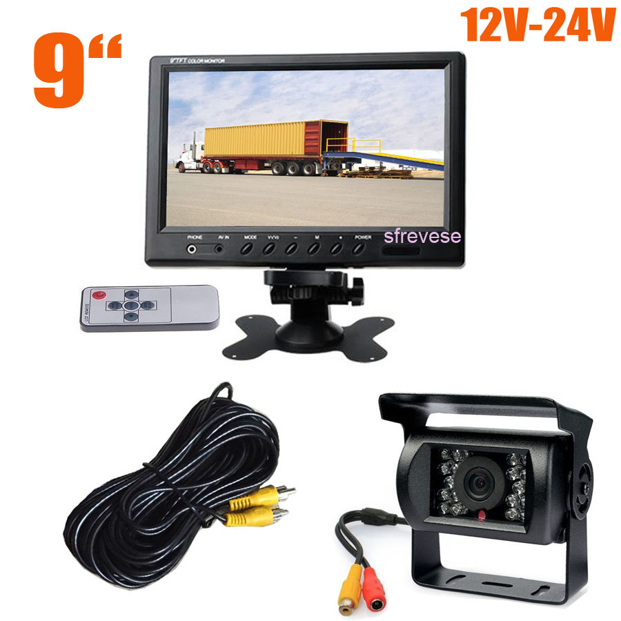 12V-24V 18 LED IR Night Vision Reversing Parking Backup Camera + 9 LCD Monitor Car Rear View Kit for Bus Truck Motorhome free shipping 4 3 lcd monitor car rear view kit 1ch auto parking system for truck bus school bus dc 12v input rear view camera