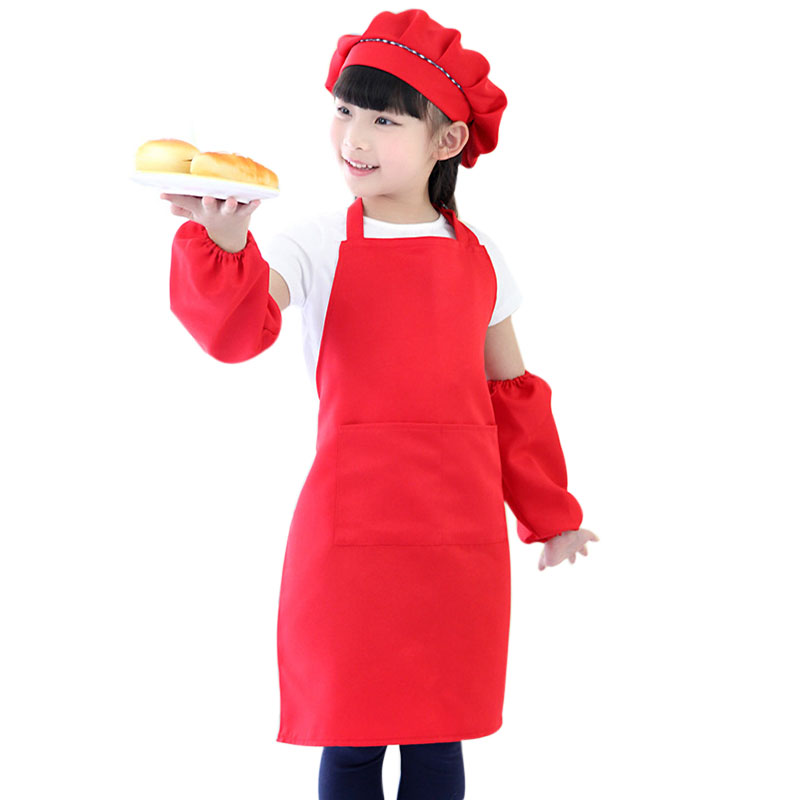 4 piece/set Kitchen Apron Kids Hat Nursing Sleeves Set Girls Boys Kitchen Cooking Baking Tools Aprons Kids Bibs Cuisine Apron