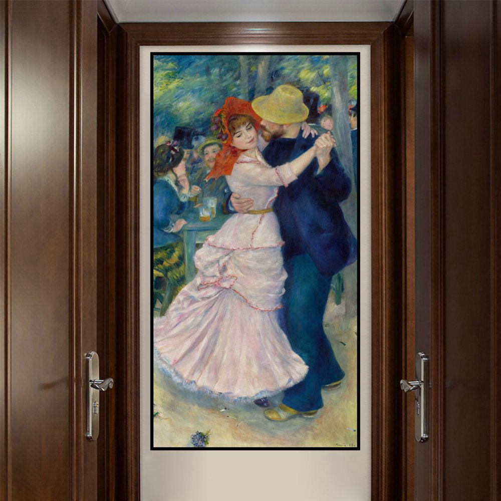 Retro Artwork Auguste Renoir Canvas Painting Reproduction Dance At Bougival Art Print Picture Poster Home Decoration Wall In Calligraphy