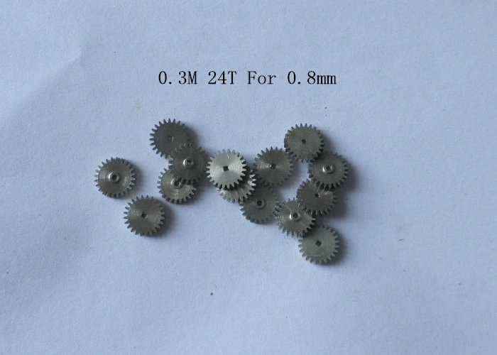 Metal Copper Gear 24 Tooth 0.3 Modulus 0.3M 24T 0.8mm Hole Diameter , Outer Diameter 7.7mm For 0.8MM