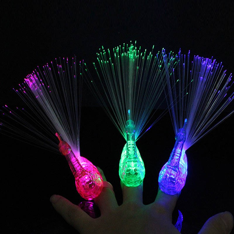 2018 Cool LED Flashing Peacock Optical Fiber Finger Light Ring Beam Torch Ring Children Gift Toys Party Cosplay Accessories