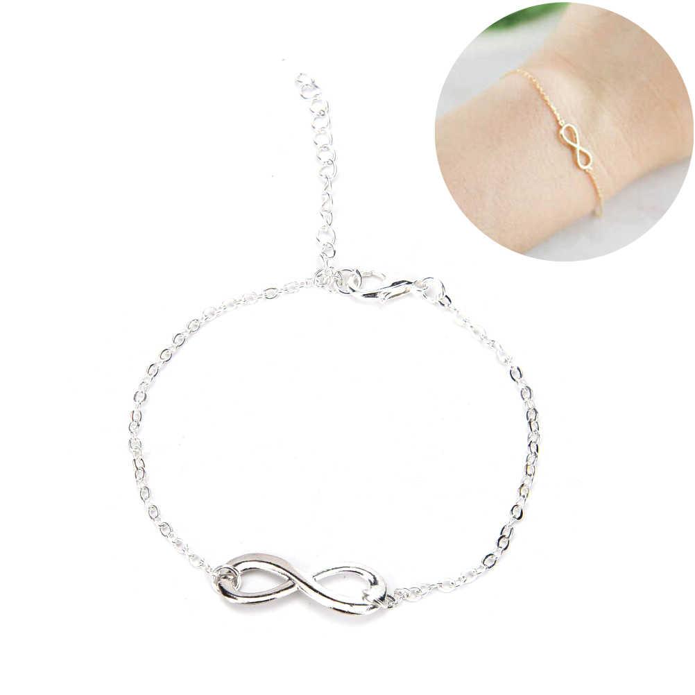 Nuevo diseño Simple brazalete femenino de moda para damas pulsera de tenis de enlace infinito 1 Uds. Doble número de la suerte 8 pulsera de signo infinito