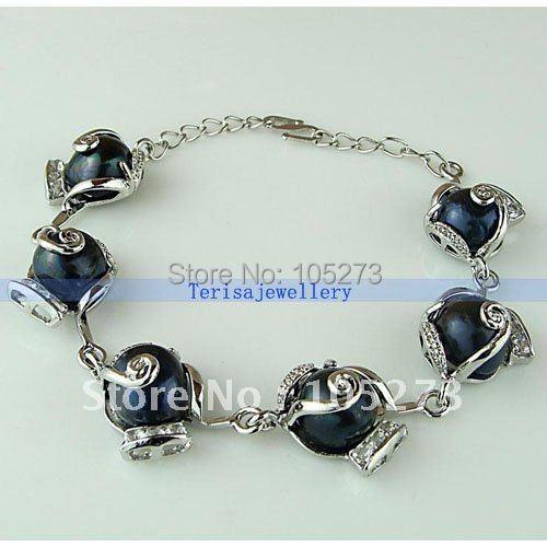 Luxo preto barroco pérola pulseira / 99% satisfeito pérola tamanho : 10 - 11 mm comprimento 7'' 36-44 8''inchs nova envio gratuito de